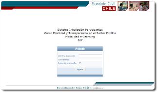 Sistema Inscripción Web curso Probidad y Transparencia en el Sector Público
